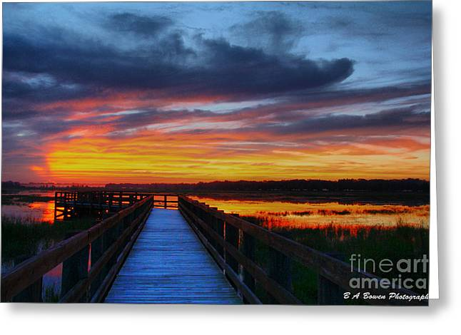 Pasco County Greeting Cards - Dawn skies at the fishing pier Greeting Card by Barbara Bowen