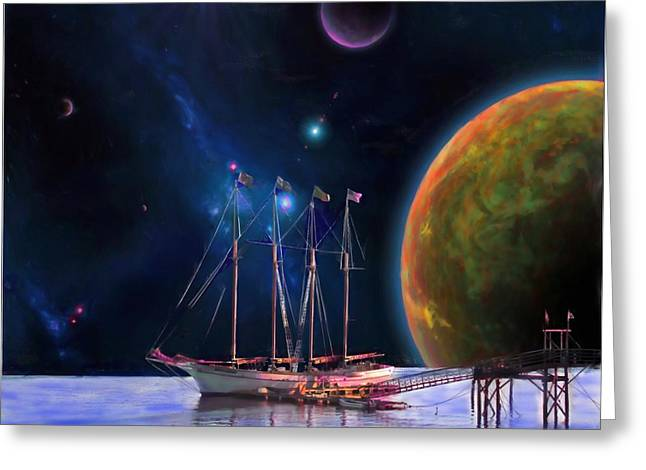 Outer Space Paintings Greeting Cards - Dawn Treader is Now Boarding Greeting Card by Earl Jackson