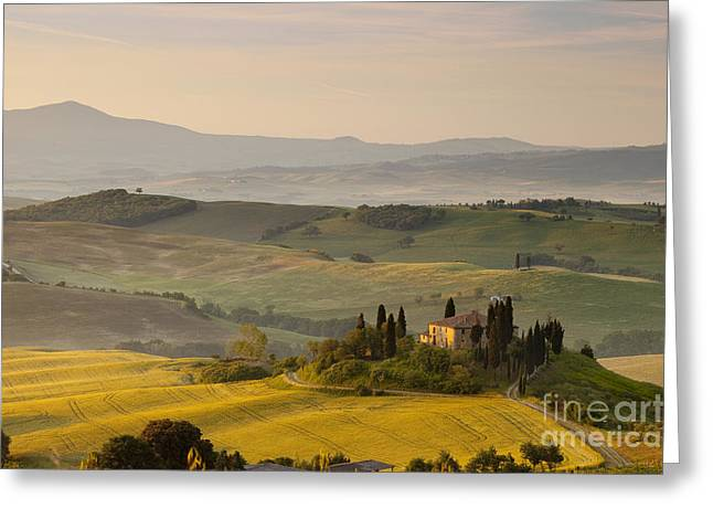 Tuscan Hills Greeting Cards - Dawn Tuscany Greeting Card by Brian Jannsen