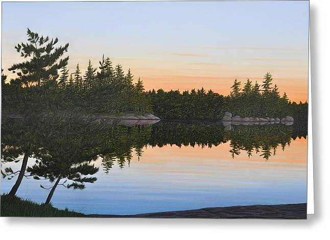 Canoe Paintings Greeting Cards - Dawns Early Light Greeting Card by Kenneth M  Kirsch