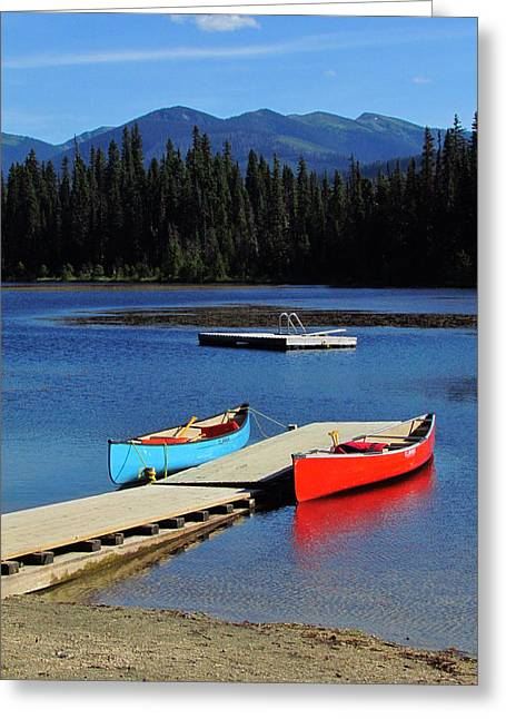 Canoe Greeting Cards - Day at the Lake Greeting Card by Andrea Arnold