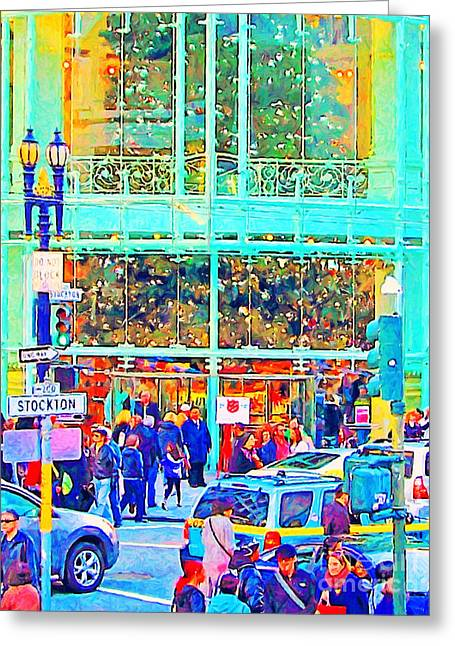 Stockton Greeting Cards - Day Before Christmas at Neiman Marcus . Photoart Greeting Card by Wingsdomain Art and Photography