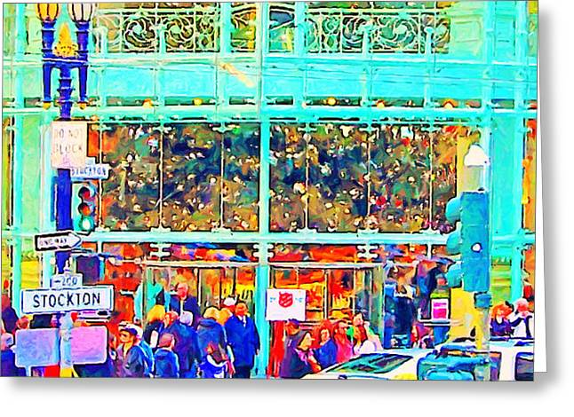 Day Before Christmas at Neiman Marcus . Photoart Greeting Card by Wingsdomain Art and Photography