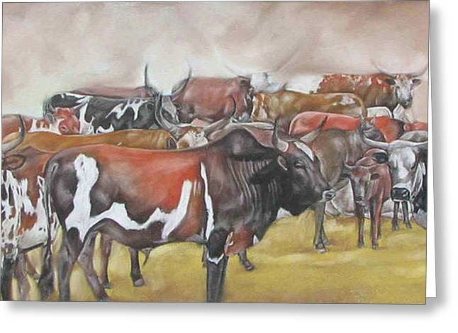 Cattle Pastels Greeting Cards - Day break Greeting Card by Boarding  Dzinotizei