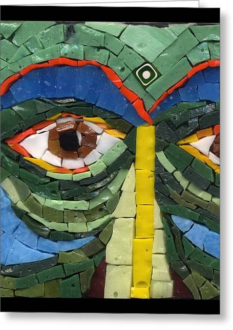 Detail Glass Art Greeting Cards - Day Dreamer - Fantasy Face No. 8 Greeting Card by Gila Rayberg