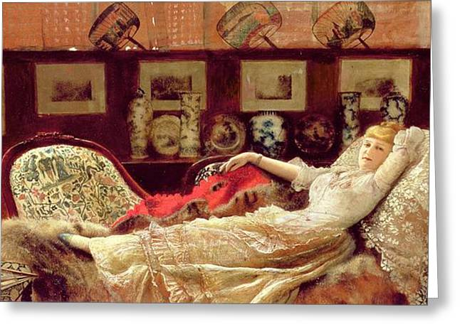Decadence Greeting Cards - Day Dreams Greeting Card by John Atkinson Grimshaw