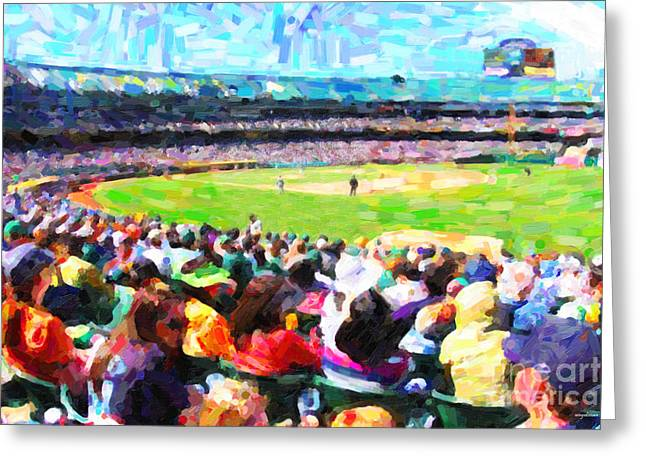America Pastime Greeting Cards - Day Game At The Old Ballpark Greeting Card by Wingsdomain Art and Photography