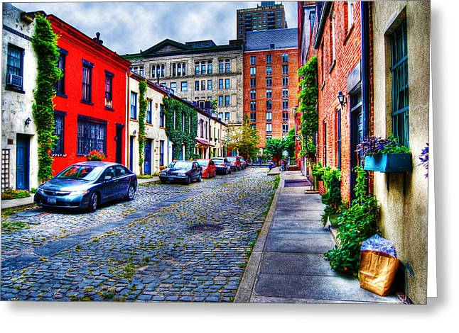 Washington Mews Greeting Cards - Day in the Life at Washington Mews Greeting Card by Randy Aveille