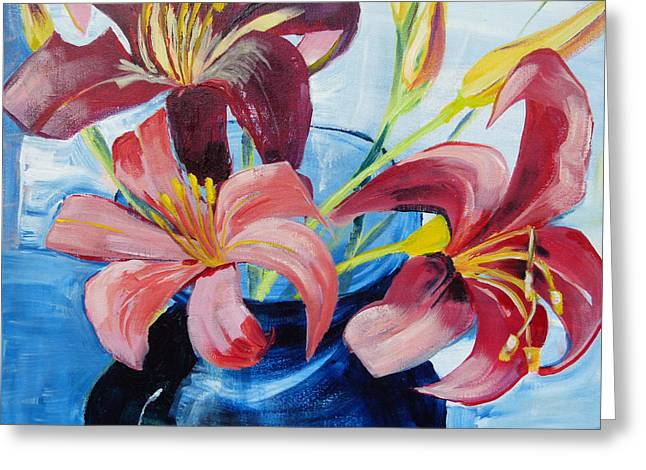 Suzanne Willis Greeting Cards - Day Lilies Greeting Card by Suzanne Willis