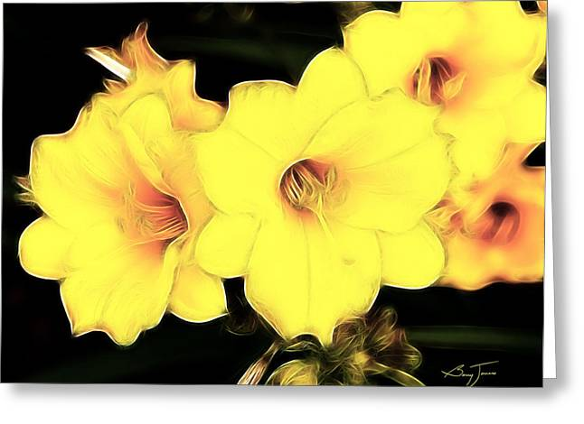 Day Lilly Digital Greeting Cards - Day Lillies in Bloom Greeting Card by Barry Jones