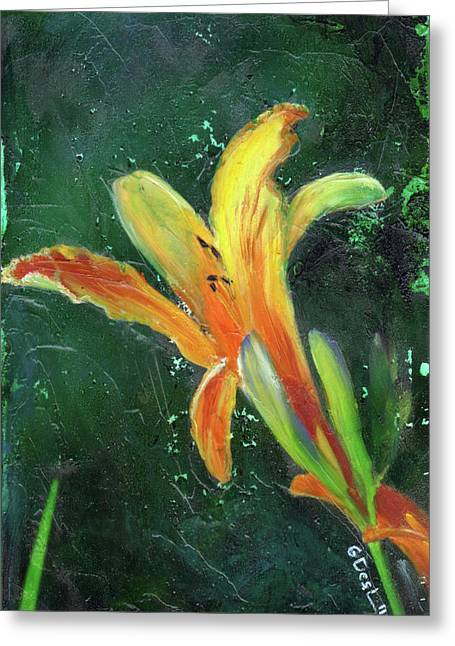 Day Lilly Paintings Greeting Cards - Day Lily number two Greeting Card by Gary Deslauriers