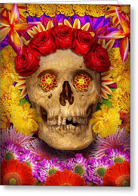 Marigold Festival Greeting Cards - Day of the Dead - Dia de los Muertos Greeting Card by Mike Savad
