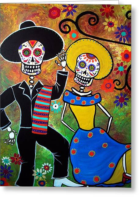 Carter House Greeting Cards - Day Of The Dead Bailar Greeting Card by Pristine Cartera Turkus