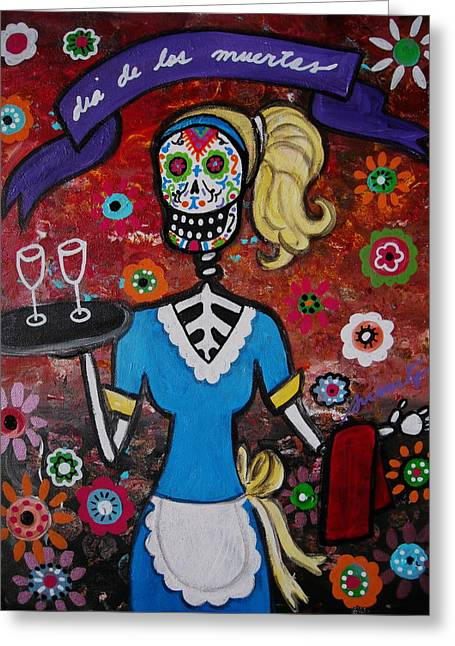 Waitress Paintings Greeting Cards - Day Of The Dead Waitress Greeting Card by Pristine Cartera Turkus