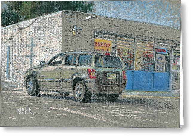 Car Pastels Greeting Cards - Day Old Bread Store Greeting Card by Donald Maier