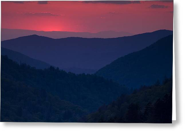 Great Smoky Mountains Greeting Cards - Day Over in the Smokies Greeting Card by Andrew Soundarajan