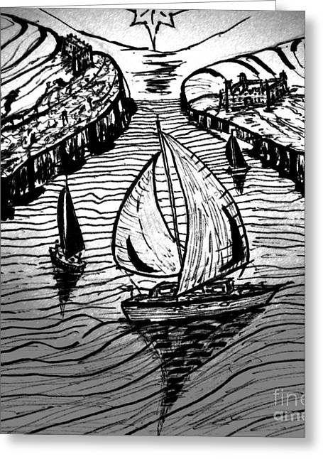 Carrier Drawings Greeting Cards - Day sail Greeting Card by Liam Conroy