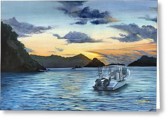 Trister Hosang Greeting Cards - Daybreak at Batteaux Bay Greeting Card by Trister Hosang