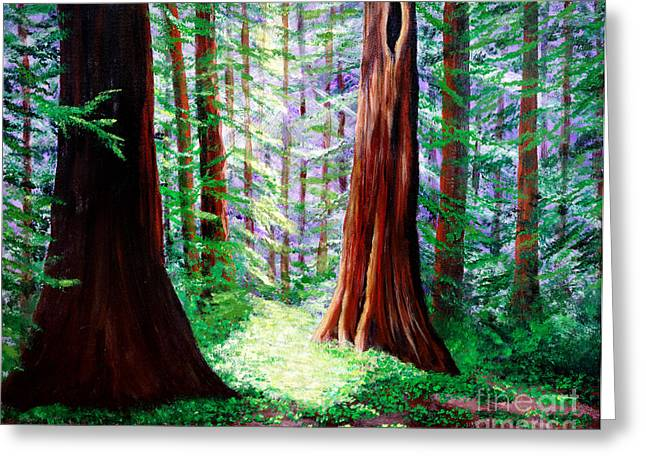 Redwood Tree Greeting Cards - Daybreak in the Redwoods Greeting Card by Laura Iverson