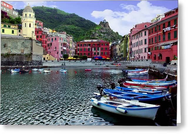 Italian Riveria Greeting Cards - Daybreak Vernazza Greeting Card by John Galbo