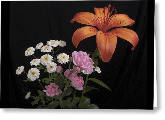 Daylily And Roses Greeting Card by Michael Peychich