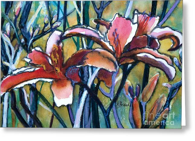 Daylily Stix Greeting Card by Kathy Braud