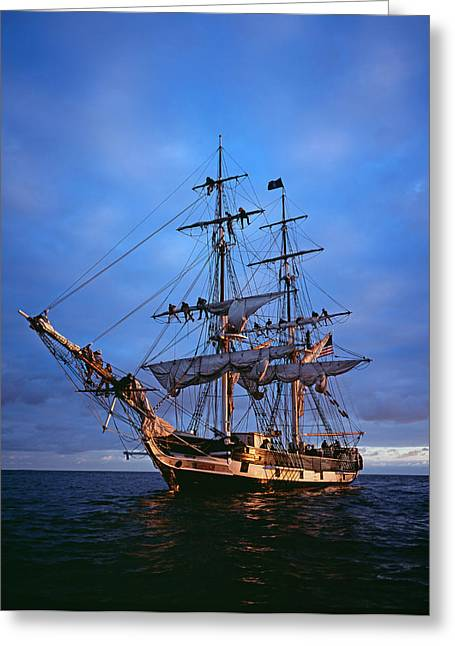 Tall Ships Greeting Cards - Days End Greeting Card by Cliff Wassmann