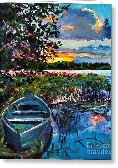 Rowboat Greeting Cards - Days End Greeting Card by David Lloyd Glover