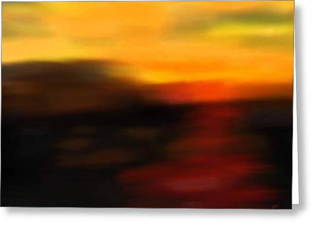 Abstract Impressionism Digital Art Greeting Cards - Days End Greeting Card by Gerlinde Keating - Keating Associates Inc