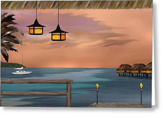 Tahiti Greeting Cards - Days End Greeting Card by Gordon Beck