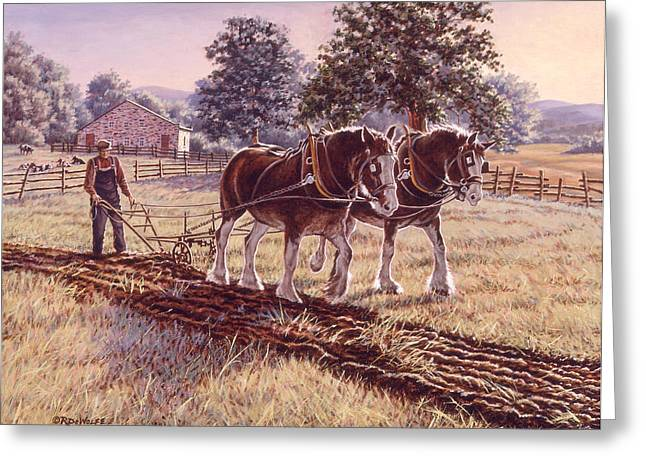 Farm Horse Greeting Cards - Days of Gold Greeting Card by Richard De Wolfe