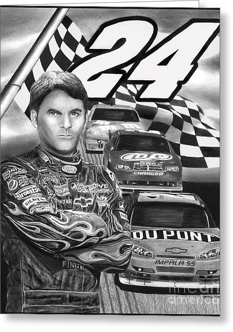 Jeff Drawings Drawings Greeting Cards - Days of Thunder Jeff Gordon Greeting Card by Peter Piatt
