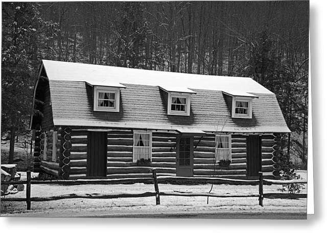 Winter Scenes Rural Scenes Greeting Cards - Days of Yore Log Cabin Greeting Card by John Stephens