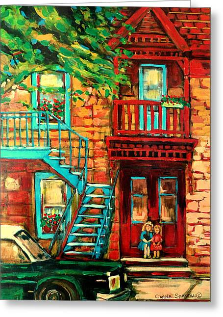 Out-of-date Greeting Cards - De Bullion Street Girls Greeting Card by Carole Spandau