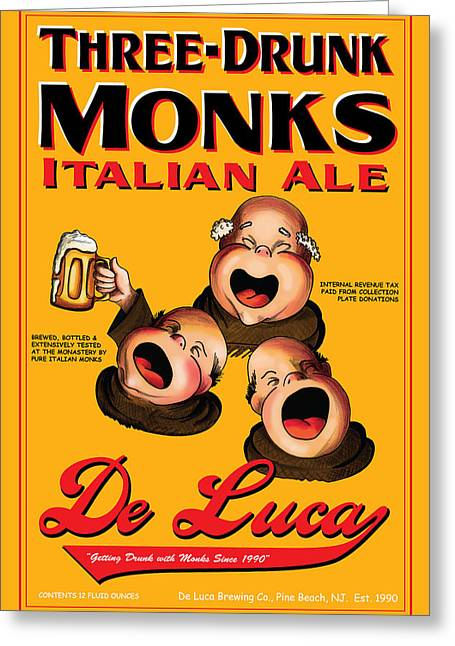 Stein Drawings Greeting Cards - De Luca Three Drunk Monks Greeting Card by John OBrien