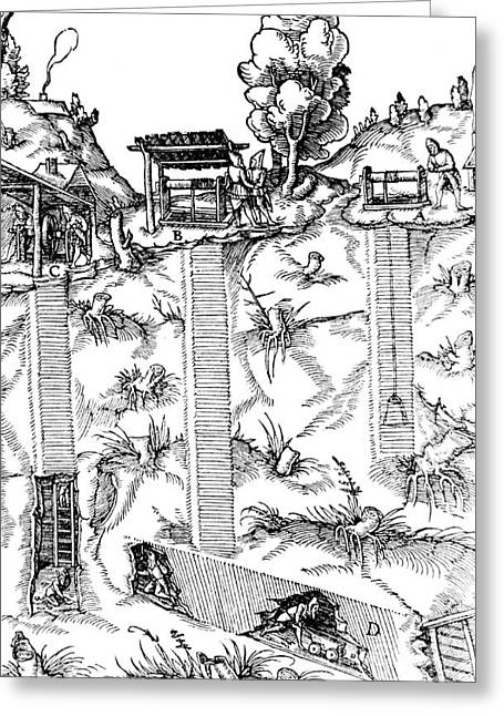 De Re Metallica, Mine Shafts, 16th Greeting Card by Science Source