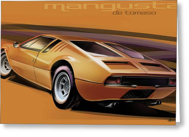 Automobile Artwork. Greeting Cards - De Tomaso Mangusta Greeting Card by Uli Gonzalez