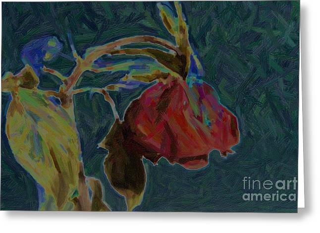 Flowers Stretched Prints Greeting Cards - Dead Red Rose Painting Greeting Card by M K  Miller