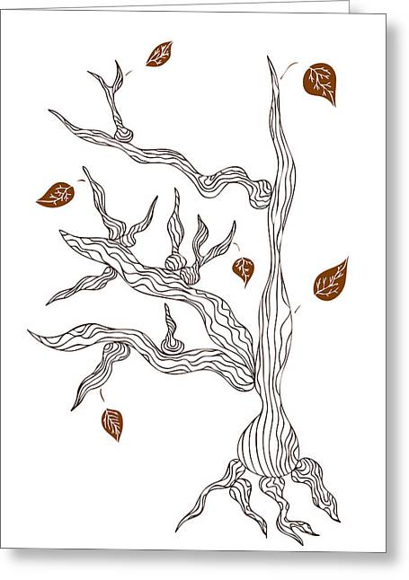 Nature Abstracts Drawings Greeting Cards - Dead wood Greeting Card by Frank Tschakert