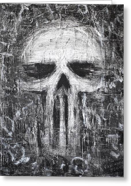 Alternative Skull Greeting Cards - Deadly Demise Greeting Card by Roseanne Jones