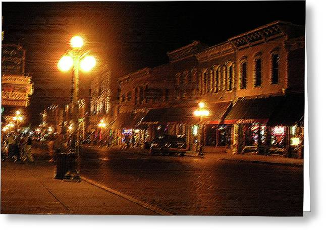 Townscape Digital Art Greeting Cards - Deadwood Night Greeting Card by Liz Evensen