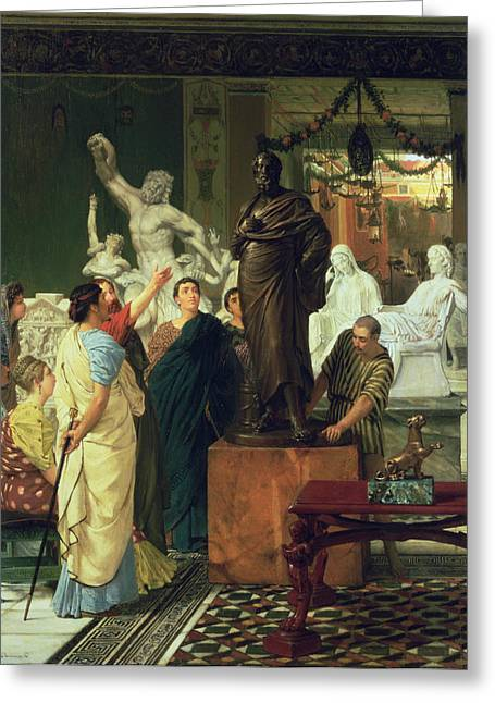 Signed Sculptures Greeting Cards - Dealer in Statues  Greeting Card by Sir Lawrence Alma-Tadema