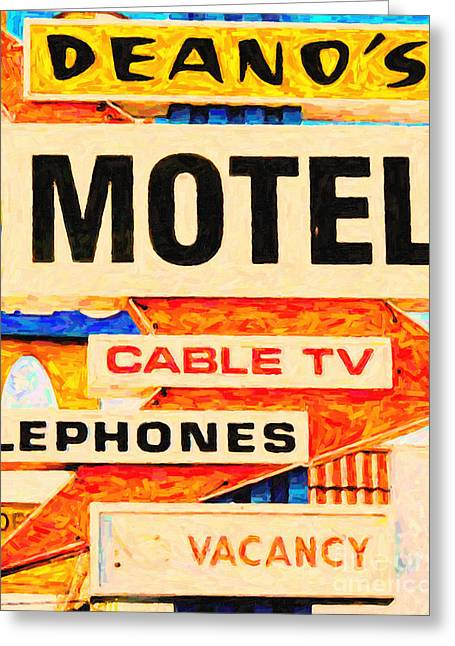 Roadside Architecture Greeting Cards - Deanos Motel Greeting Card by Wingsdomain Art and Photography