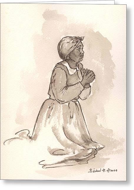 Black Woman Praying Greeting Cards - Dear God... Greeting Card by Barbel Amos