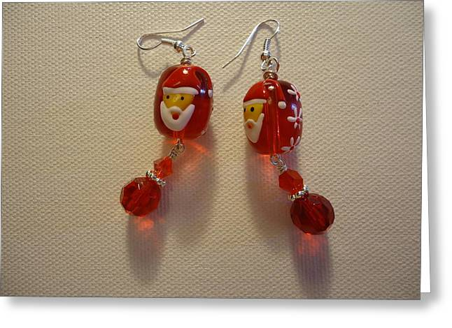 Red Art Jewelry Greeting Cards - Dear Santa Earrings Greeting Card by Jenna Green
