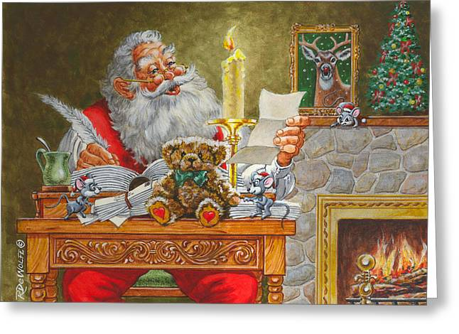 Old Saint Nick Greeting Cards - Dear Santa Greeting Card by Richard De Wolfe
