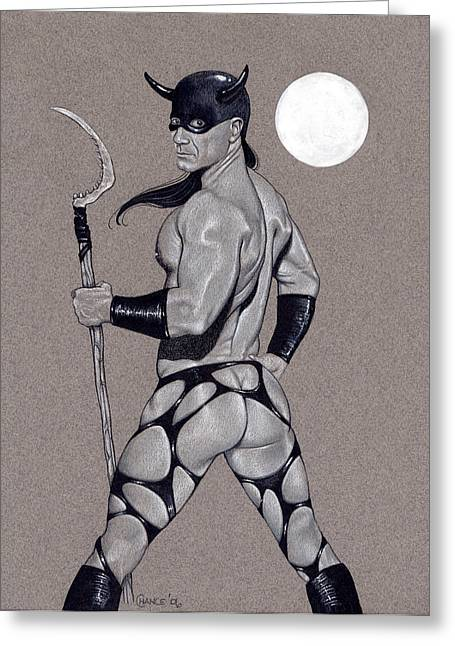 Gay Men Drawings Greeting Cards - Death Dealer Greeting Card by Chance Manart