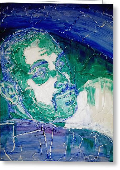 Face Reliefs Greeting Cards - Death Metal Portrait in Blue and Green with Fu Man Chu Mustache and Cracking Textured Canvas Greeting Card by M Zimmerman