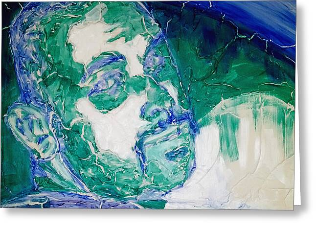 Death Metal Portrait in Blue and Green with Fu Man Chu Mustache and Cracking Textured Canvas Greeting Card by M Zimmerman
