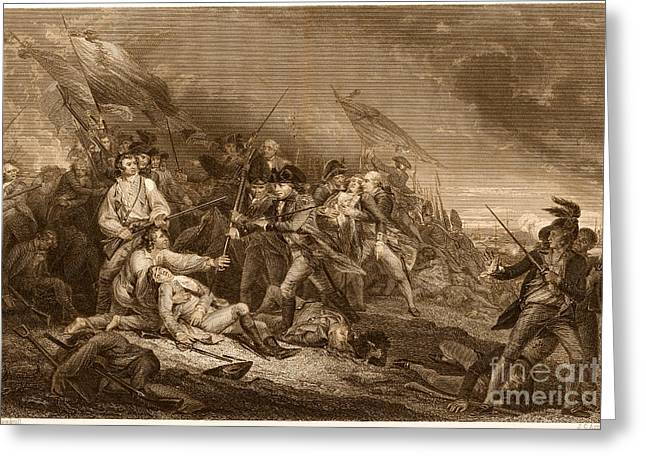 John Trumbull Greeting Cards - Death Of General Warren, 1775 Greeting Card by Photo Researchers